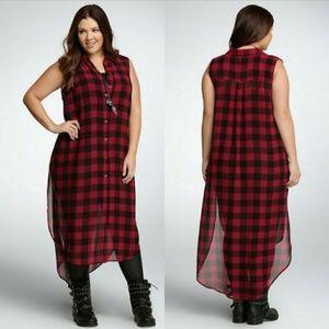 Torrid | Sheer Red & Black Plaid Duster Dress | 0